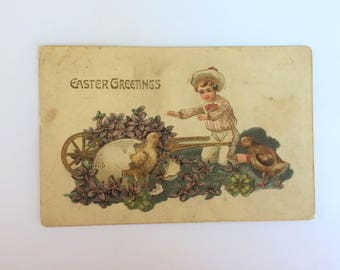 Antique Easter Post Card Little Boy Chicks Wheelbarrow Full of Violets Gold Metallic Ink Embossed 1900's Vintage Postcard Collectible