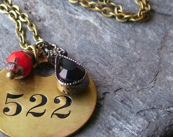 Vintage numbered tag necklace, pendant cluster necklace, beaded cluster necklace, 522, unique holiday gift ideas