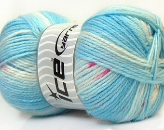 100gr Baby Design #22045 Blues White Pink Green Design Self-Striping and Patterning Acrylic Yarn 393yds