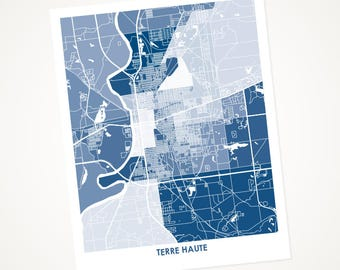 Terre Haute Map Print.  Choose your Colors and Size.  Perfect for your Indiana State University Sycamore.
