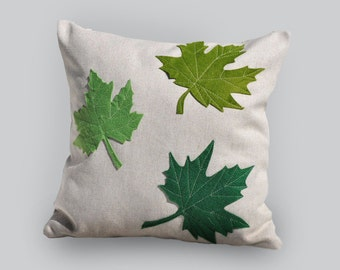 Maple pillow, green maple leaves, decorative pillow, green maple, artisan room decor, green leaves pillow cover, living room decor.