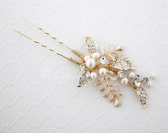 Light Gold Bridal Hair Pin of Fern Leaves Jeweled Leaves and Ivory Pearls Wedding Hair Piece Woodland