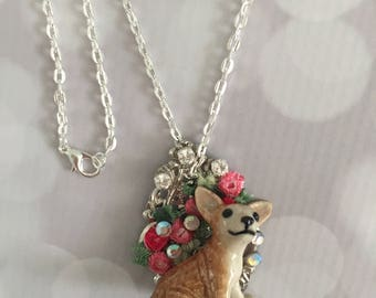 Chihuahua Dog Necklace - Dog Pendant- One Of A Kind Chihuahua Dog Pendant Necklace - Frenchtutu Dog Necklace - Chihuahua Dog Lovers Gift