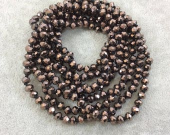 """72"""" Knotted Black Thread Necklace with 6mm Faceted Metallic AB Finish Rondelle Shape Opaque Dark Brown Chinese Crystal Beads - (KBL72CC-110)"""