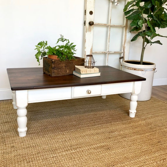 White Farmhouse Coffee Table with Stained Top and Storage Drawer