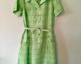 Vintage Two - Toned Green and White Checked Dress/Sears  ~SALE~