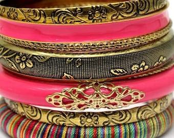 Pink Boho Bangle Set