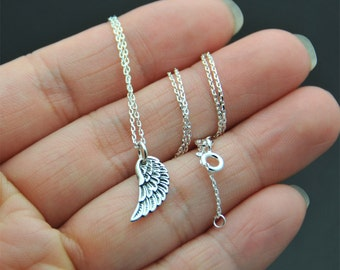 Small Dainty all Sterling Silver wing necklace, Angel Wing Necklace, Sterling Silver Angel Wing, Silver Wing Necklace, Friend, Sister,