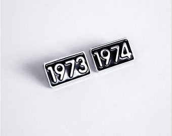 1973 or 1974 Year Pin Small Soft Enamel, black and silver // .75 inch, anniversary, birthday gift, lapel pin