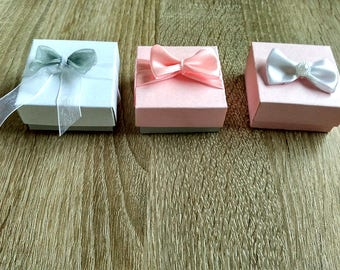 Pink Boxes, white ribbon, 10 jewelry packaging, christening gift, baby shower, gift box, ring packaging, earrings box, wedding, small boxes