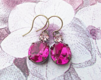 Estate Style Vintage Style Fuchsia and Light Rose Swarovski Rhinestone Earrings