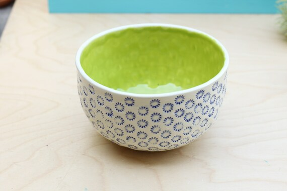purple and lime stoneware bowl
