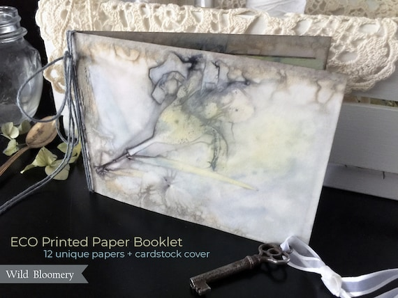 ECO Printed Paper Booklet No. 0003 - ECO Dyed Cardstock Covers + 12 Torn Edge Plant Dyed Papers