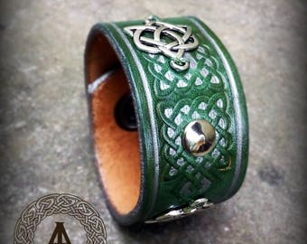 Green Leather with Celtic knots