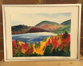 Original watercolor autumn landscape