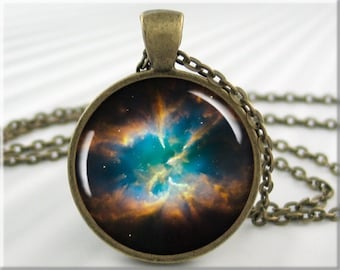 Hubble Nebula Pendant, Space Charm, NGC 2818 Planetary Space Nebula, Resin Necklace, Space Gift, Space Geek 651RB