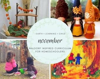 Waldorf Inspired November Homeschool Curriculum Guide, Nature Based