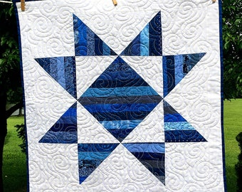 Reduced Price - Scrappy strip pieced star table topper in blues - Sale