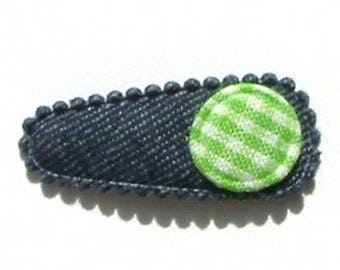 Baby Hair Clip in Blue Jean with Green French Vichy - No Slip Grip
