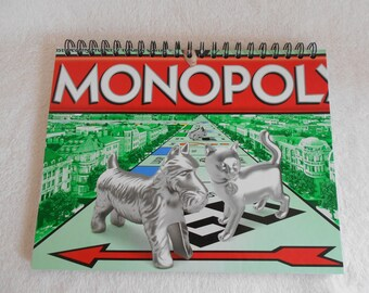MONOPOLY - recycled board game journal/notebook/travel journal/sketchbook/diary/list holder/smash book/planner