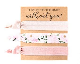 Hair Tie Bridesmaid Gift | Blush Pink Floral Hair Tie Favors, Vintage Rose Peonies Floral Hair Ties, Bridesmaid Gift, Bachelorette Hair Ties