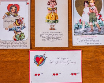 Antique Valentine Postcards: USA SET #1