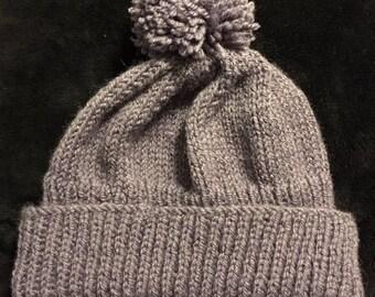 Hand-Knit Pom-Pom Hat