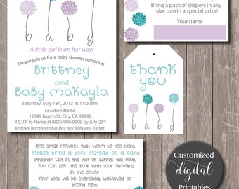 Flower Baby Shower Invitation - Download