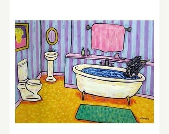 25% off Pig Taking a Bath Art Print  JSCHMETZ modern abstract folk pop art AMERICAN ART gift