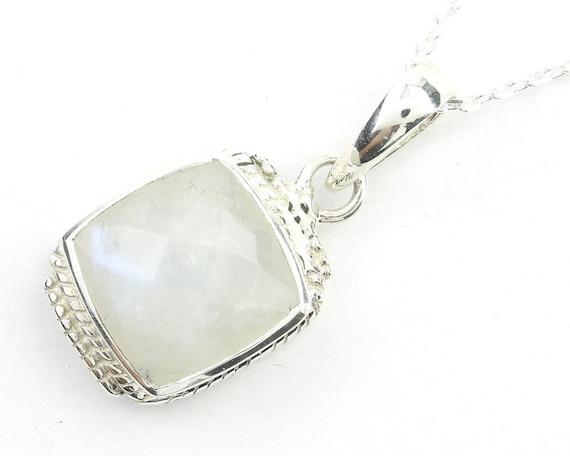 Princess Moon Sterling Silver Necklace, Moonstone Jewelry, Facet Cut, Gemstone, Meditation, Spiritual, Boho, Gypsy, Festival