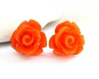 SALE - Orange Rose Stud Earrings