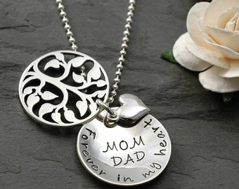 In Remembrance - Hand stamped Memorial Necklace - Family Tree - sterling silver