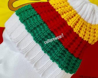Rasta Beanie White, Red, Gold, Green