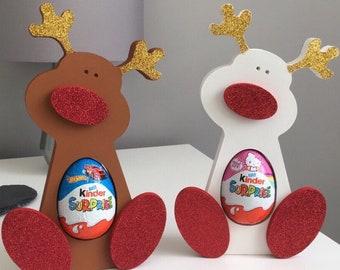 Freestanding Reindeer. Egg Holder. Christmas Gift. Glitter Reindeer. Christmas Decoration