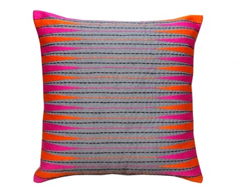 SALE 50% disocount, Pink and orange traingles, Embroidered pillow cover, grey poly cotton with geometrical pattern standard size, 16X16 inch