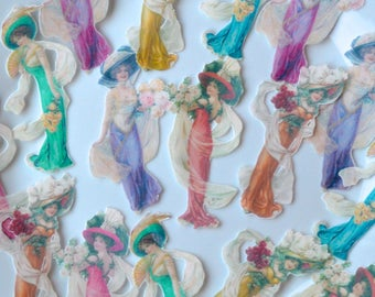 Edible Graceful Edwardian Ladies Mix Colours Wafer Rice Paper Antique Wedding Cake Toppers Downton Abbey Cupcake Cookies Decorations Favours