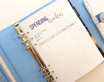 A5 SPENDING TRACKER budget printed planner inserts | A5 planner inserts |  Includes 20 single-sided pages | suits large Kikki k or Filofax.