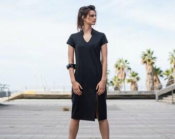 Grey Dress, Midi Dress, Casual Dress, Short Sleeves Dress, Cotton Dress, Office Dress, Loose Dress, Knee Length Dress, Classic Dress, Short