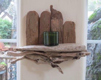 """Driftwood Shelf - Air Plant Holder -  Candle Holder - Picture Holder - Succulent Holder - Wall Decoration """"Nautical Style"""""""