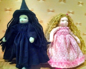 """Witch Friends, 9"""" Waldorf Dolls Set of Two, Made To Order"""