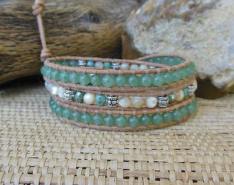 Leather Wrap Bracelet: Green Aventurine, Mother of Pearl, Silver; 3rd Anniversary, Gift for Her, Aries Woman Jewelry, Heart Chakra Jewelry