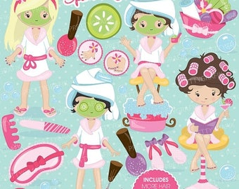 80% OFF SALE Spa girls party clipart for scrapbooking, commercial use, vector graphics, digital clip art, images, slumber party - CL694