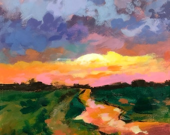 """Original Acrylic Abstract landscape painting- Storm in the making - 8"""" x 8"""""""