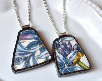 You ComPlate Me - Matching Broken Plate Friendship Necklaces - Blue Floral - Recycled China
