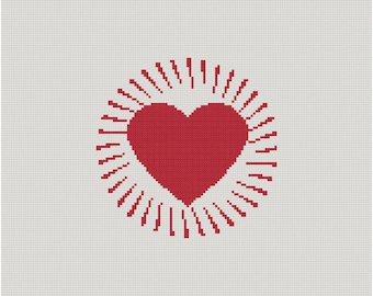 Cross stitch pattern HEART BEAT - valentine,valentine's day,love,heart,heart pillow,pillow cover,cross stitch,embroidery,needlepoint,diy,red