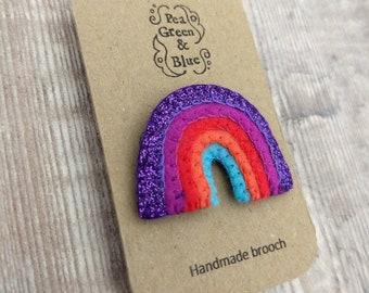 Small felt rainbow brooch (purple glitter)