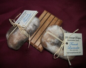 Handmade Soap and Washcloth in One - Felted with Alpaca Wool - Your Choice of Colors and Fragrance