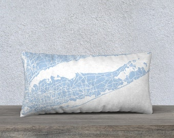 Long Island Map Pillow Cover