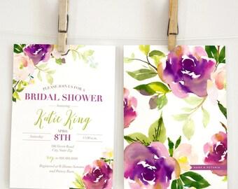 Watercolor Bridal Shower Invitation, Floral Bridal Shower Invitation, Boho Chic Bridal Shower Invite, Garden Bridal Shower, Envelope Liner