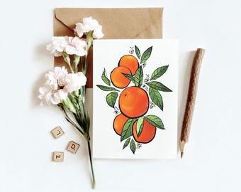 Oranges Floral Greeting Card